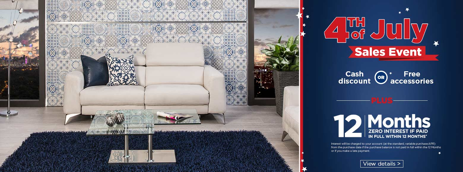 Fourth of July sales event. Cash discount or free accessories. Plus 12  months zero - El Dorado Furniture - A Different Kind Of Furniture Store.