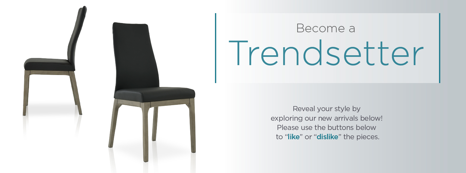 "Help create the latest trends. Get a first look at our newest and trendiest furniture here. We would like to know what you think. Please use the buttons below to ""like"" or ""dislike"" the pieces. Thank you for your feedback!"